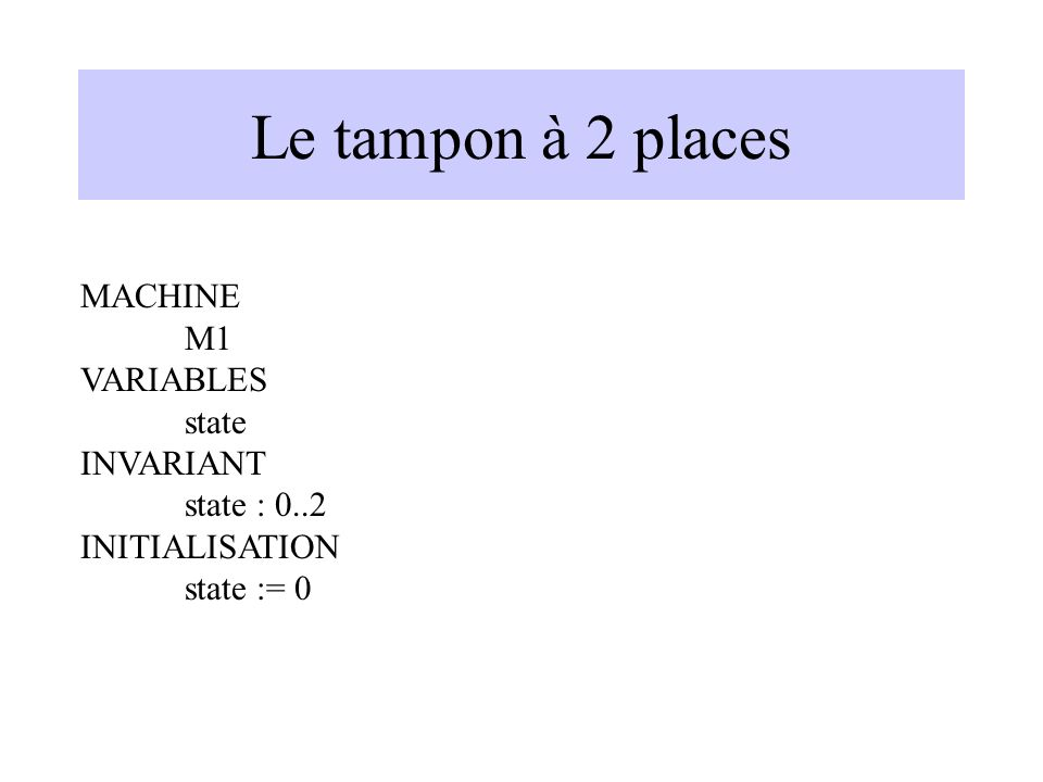 Le tampon à 2 places MACHINE M1 VARIABLES state INVARIANT state : 0..2 INITIALISATION state := 0