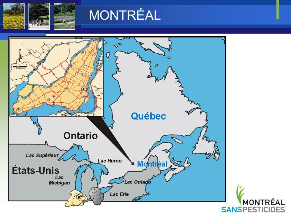 En 2002, «une île», une ville avec 27 arrondissements Depuis 2006 : agglomération de Montréal Montréal avec 19 arrondissements 15 villes liées 1 800 000 habitants 500 km 2 (longueur maximale 50 km) 45 o 30 latitude nord, 73 o 30 longitude ouest -10 o C à +21 o C (T o moy.