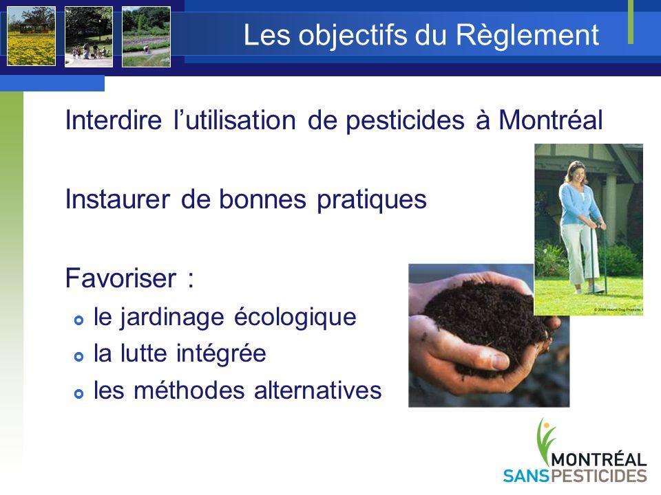 La lutte intégrée La lutte intégrée est la combinaison la plus appropriée de diverses méthodes de lutte permettant de maintenir lactivité dune population dorganismes indésirables sous un niveau tolérable Développement de stratégies et de méthodes alternatives à lutilisation des pesticides pour les gestionnaires des parcs et des espaces verts