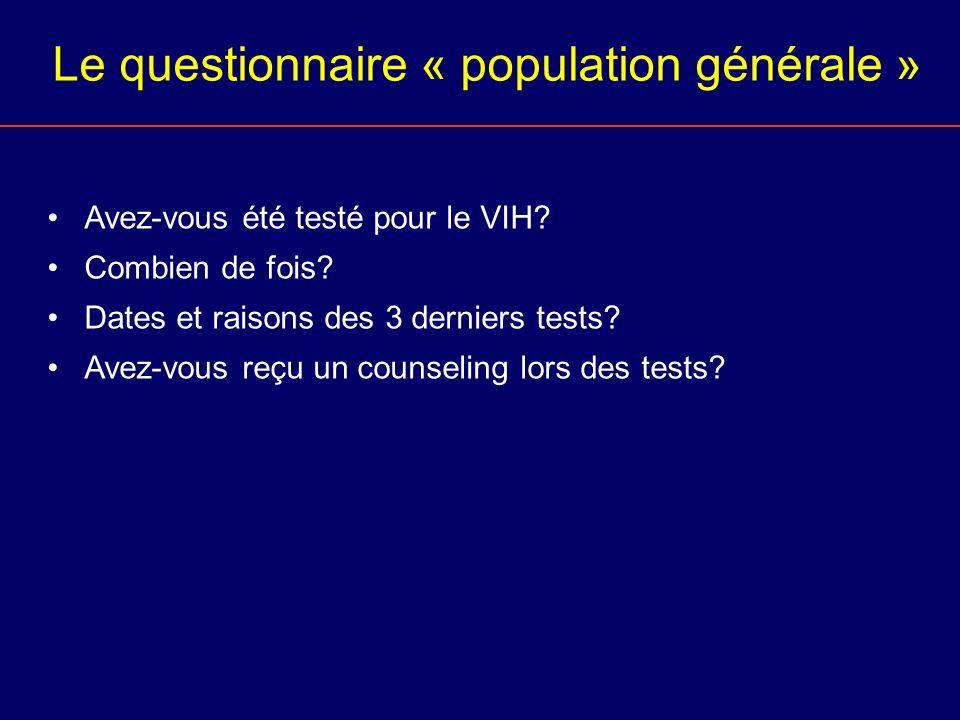 Le questionnaire « population générale » Avez-vous été testé pour le VIH? Combien de fois? Dates et raisons des 3 derniers tests? Avez-vous reçu un co