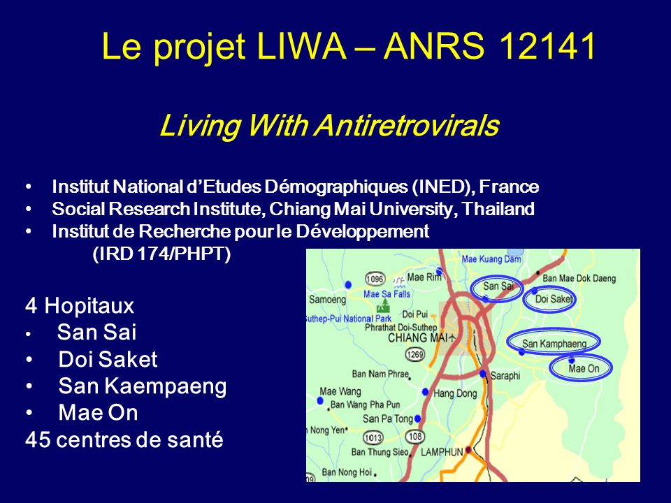Objectif Evaluer limpact socio-démographique des ARV sur la vie des personnes infectées, leurs familles et leur communité.