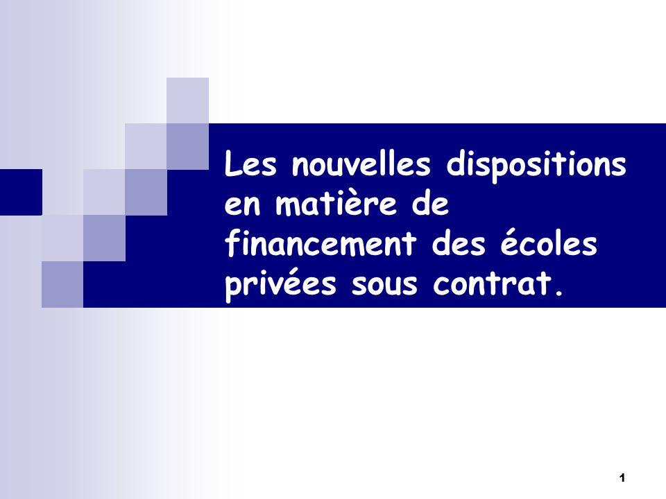1 Les nouvelles dispositions en matière de financement des écoles privées sous contrat.