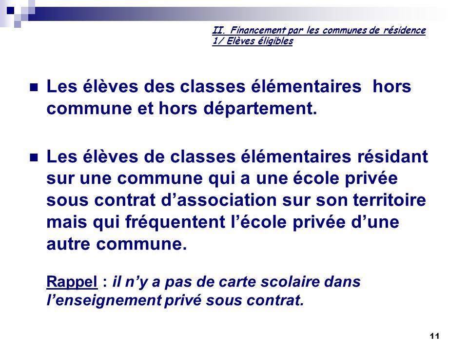 11 II. Financement par les communes de résidence 1/ Elèves éligibles Les élèves des classes élémentaires hors commune et hors département. Les élèves