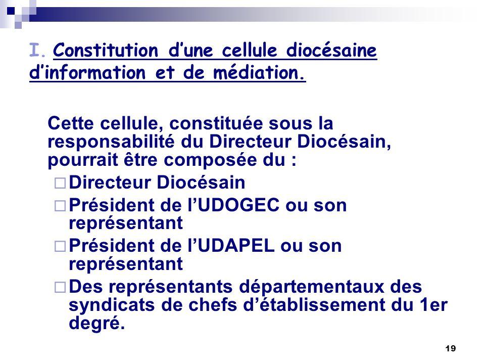 19 I. Constitution dune cellule diocésaine dinformation et de médiation. Cette cellule, constituée sous la responsabilité du Directeur Diocésain, pour