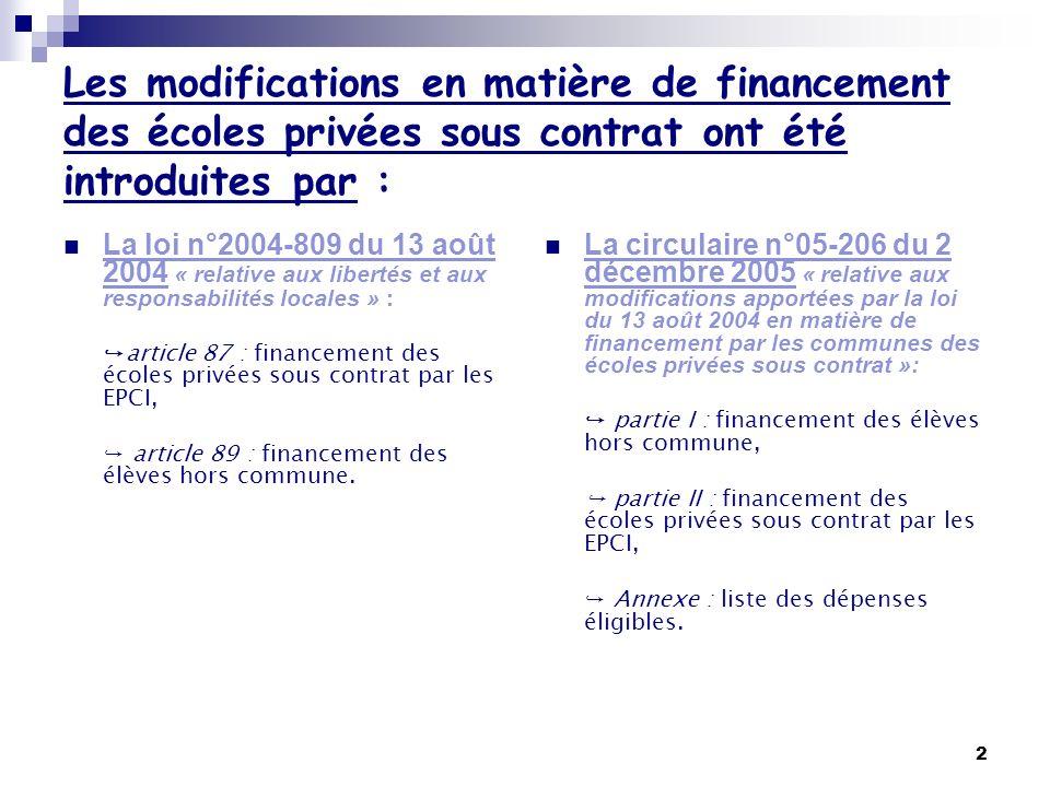2 Les modifications en matière de financement des écoles privées sous contrat ont été introduites par : La loi n°2004-809 du 13 août 2004 « relative a