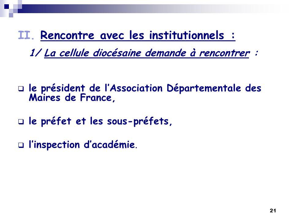 21 II. Rencontre avec les institutionnels : 1/ La cellule diocésaine demande à rencontrer : le président de lAssociation Départementale des Maires de