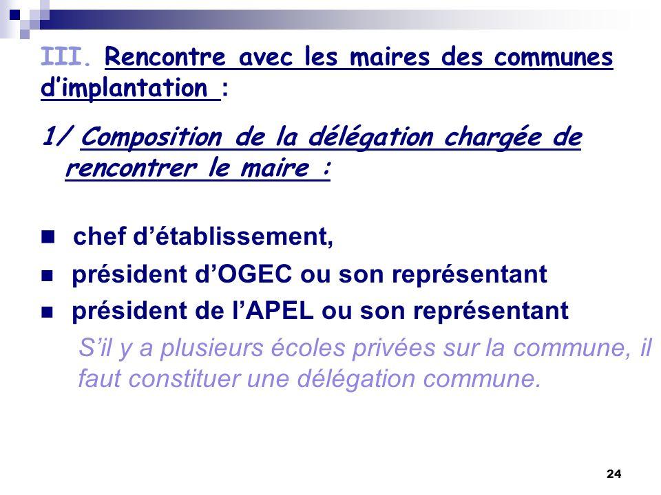 24 III. Rencontre avec les maires des communes dimplantation : 1/ Composition de la délégation chargée de rencontrer le maire : chef détablissement, p