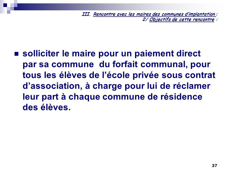27 III. Rencontre avec les maires des communes dimplantation : 2/ Objectifs de cette rencontre : solliciter le maire pour un paiement direct par sa co