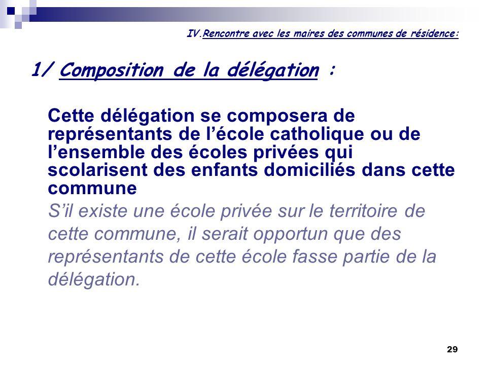 29 IV.Rencontre avec les maires des communes de résidence: 1/ Composition de la délégation : Cette délégation se composera de représentants de lécole