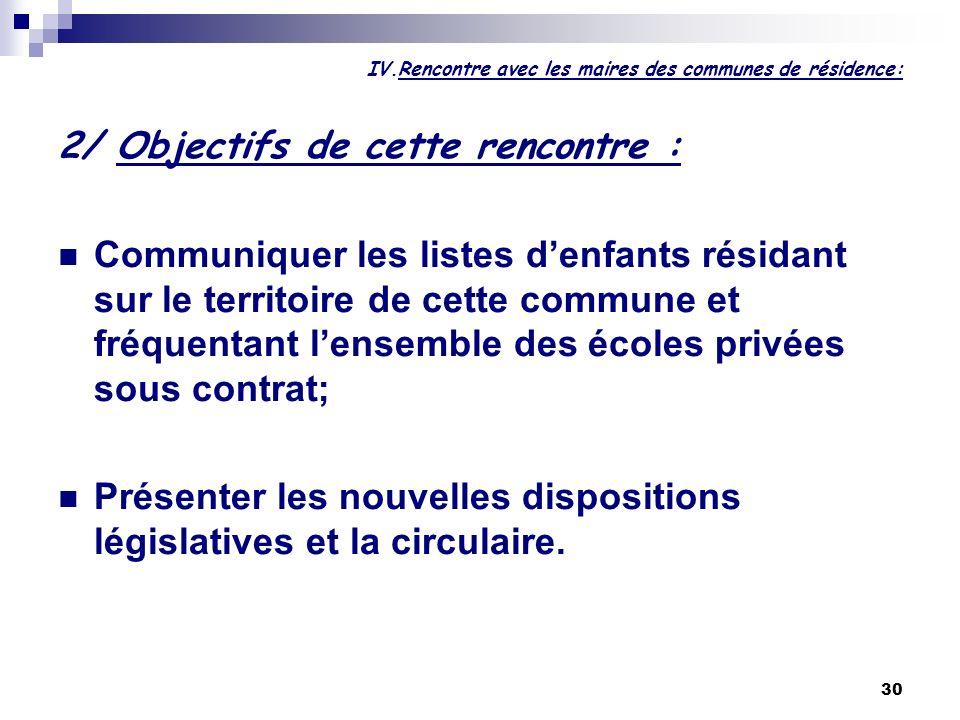 30 IV.Rencontre avec les maires des communes de résidence: 2/ Objectifs de cette rencontre : Communiquer les listes denfants résidant sur le territoir