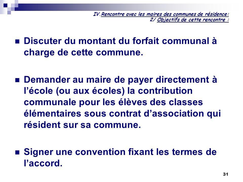 31 IV.Rencontre avec les maires des communes de résidence: 2/ Objectifs de cette rencontre : Discuter du montant du forfait communal à charge de cette