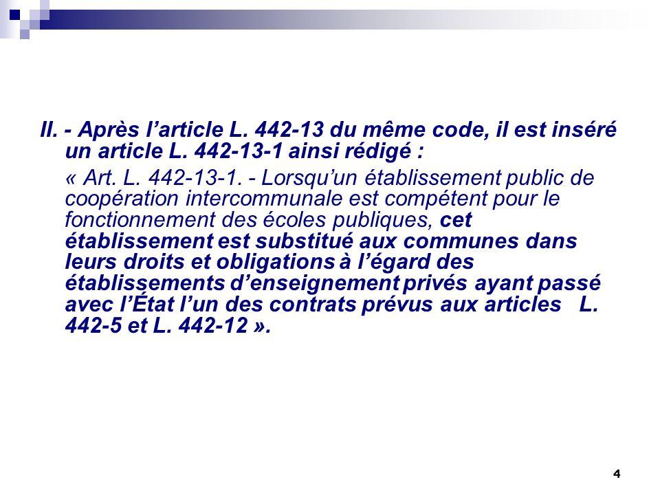 4 II. - Après larticle L. 442-13 du même code, il est inséré un article L. 442-13-1 ainsi rédigé : « Art. L. 442-13-1. - Lorsquun établissement public