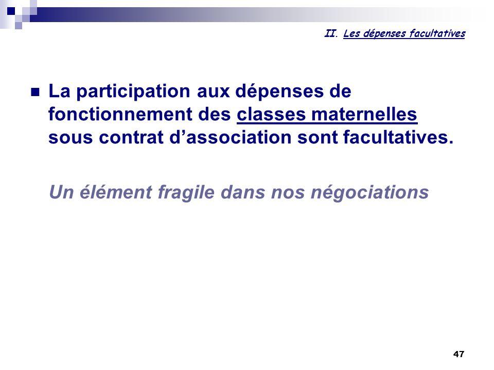 47 II. Les dépenses facultatives La participation aux dépenses de fonctionnement des classes maternelles sous contrat dassociation sont facultatives.