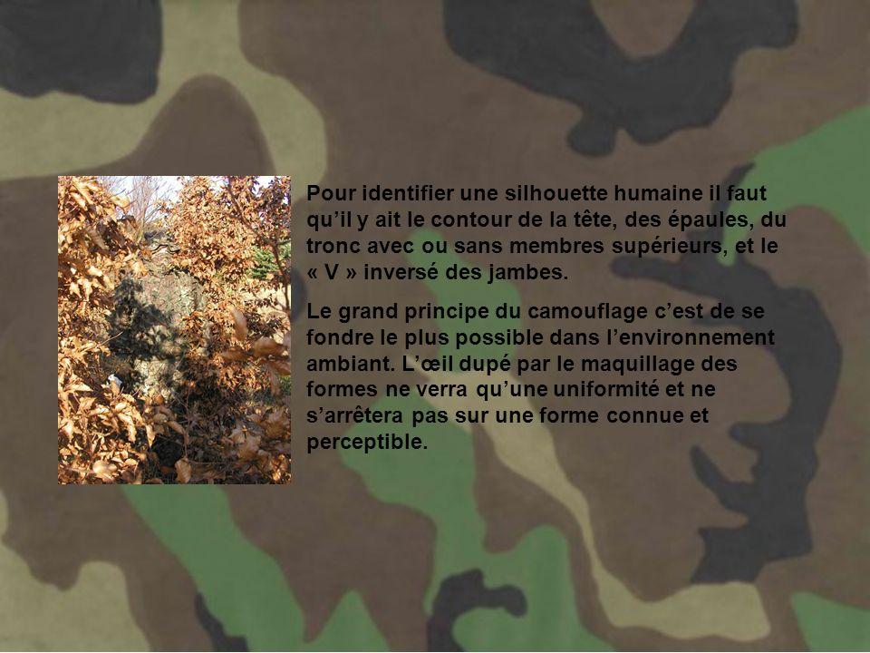 Tout lart du camouflage va consister en utilisant des contrastes de couleur à rompre; à modifier la silhouette, à casser la forme pour entraver sa perception.