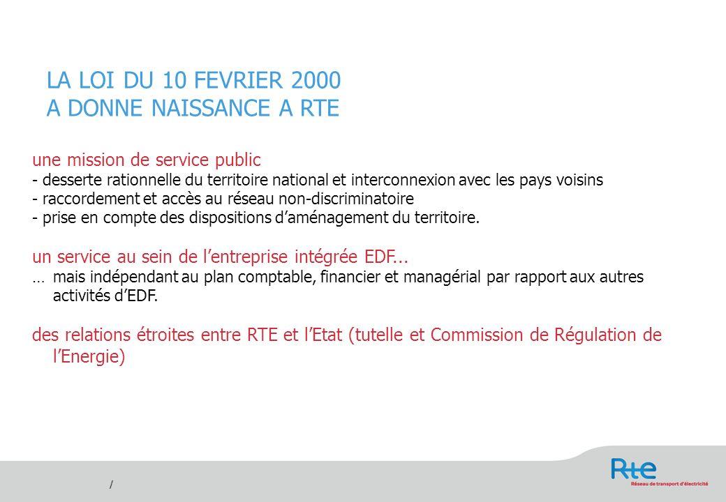 / DECRET DU 31 AOUT 2005 : CREATION DE RTE EDF TRANSPORT SA EDF et Gaz de France sont transformées en sociétés anonymes dont lÉtat conservera au minimum 70% du capital.