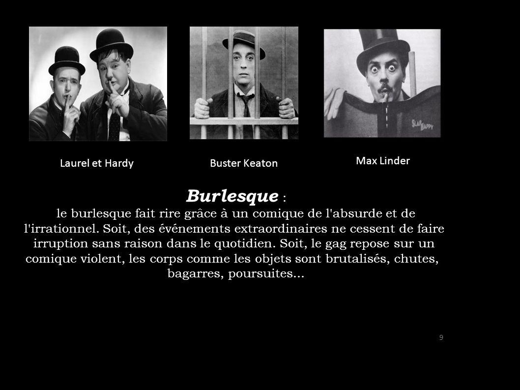 Burlesque : le burlesque fait rire grâce à un comique de l'absurde et de l'irrationnel. Soit, des événements extraordinaires ne cessent de faire irrup