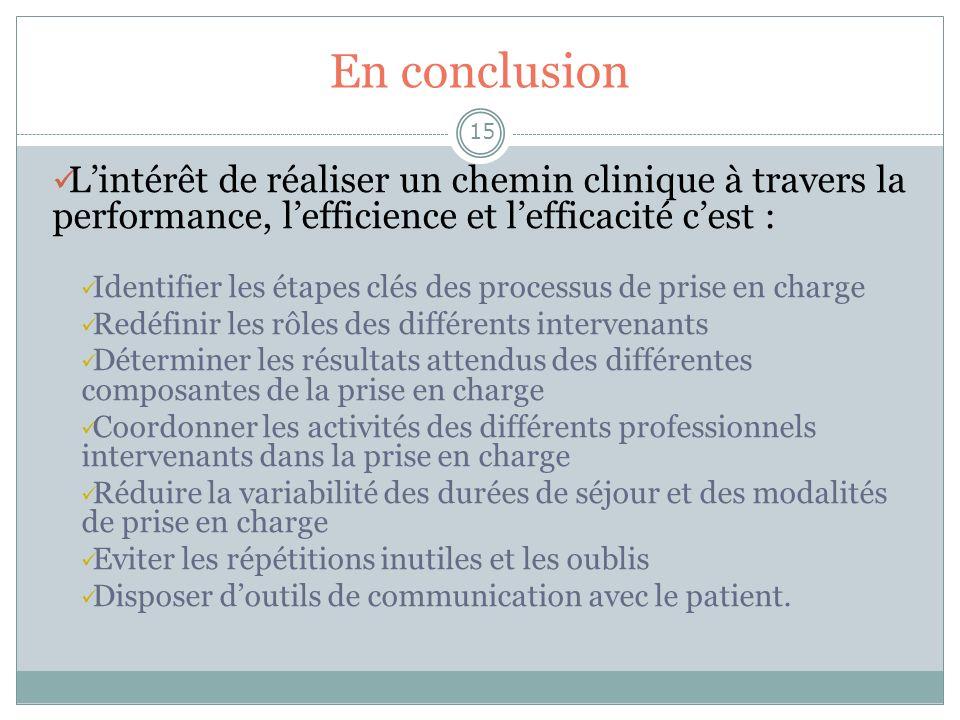 En conclusion 15 Lintérêt de réaliser un chemin clinique à travers la performance, lefficience et lefficacité cest : Identifier les étapes clés des pr