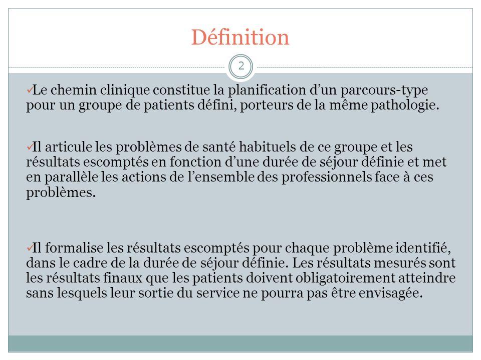 Définition 3 Objectifs : Centré autour du patient, le chemin clinique a pour but de décrire, pour une pathologie donnée, tous les éléments du processus de prise en charge en suivant le parcours du patient au sein de linstitution.