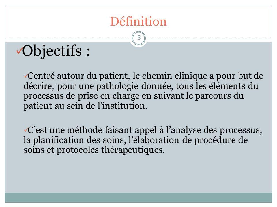 Définition 3 Objectifs : Centré autour du patient, le chemin clinique a pour but de décrire, pour une pathologie donnée, tous les éléments du processu