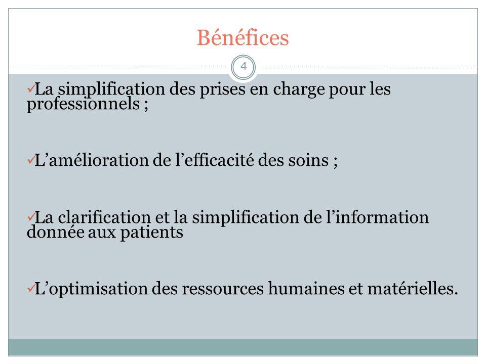 Bénéfices 4 La simplification des prises en charge pour les professionnels ; Lamélioration de lefficacité des soins ; La clarification et la simplific