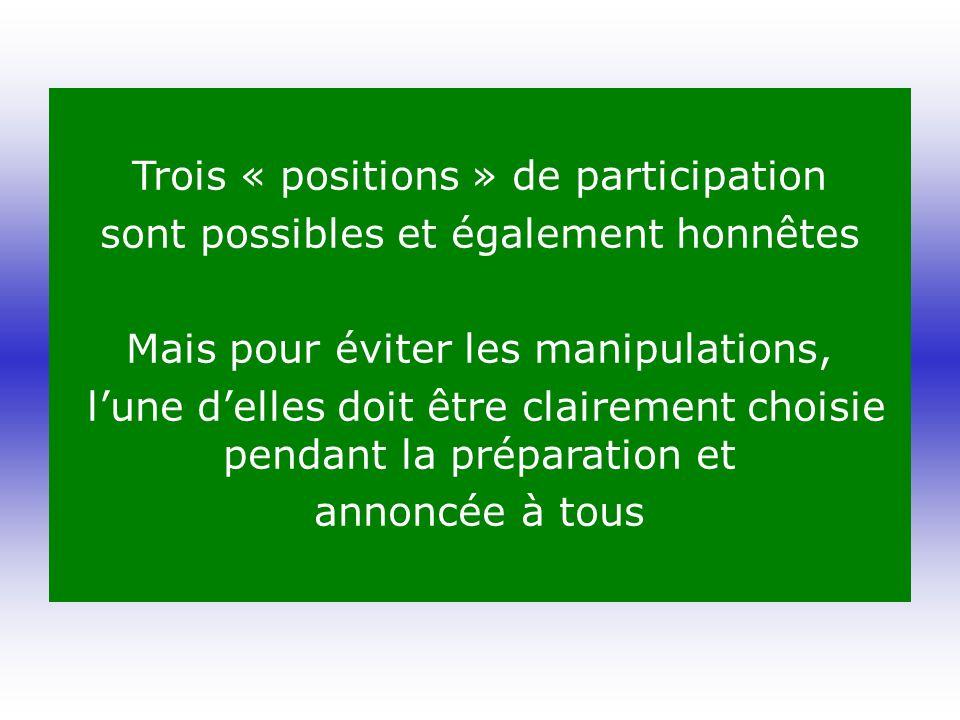 Trois « positions » de participation sont possibles et également honnêtes Mais pour éviter les manipulations, lune delles doit être clairement choisie pendant la préparation et annoncée à tous