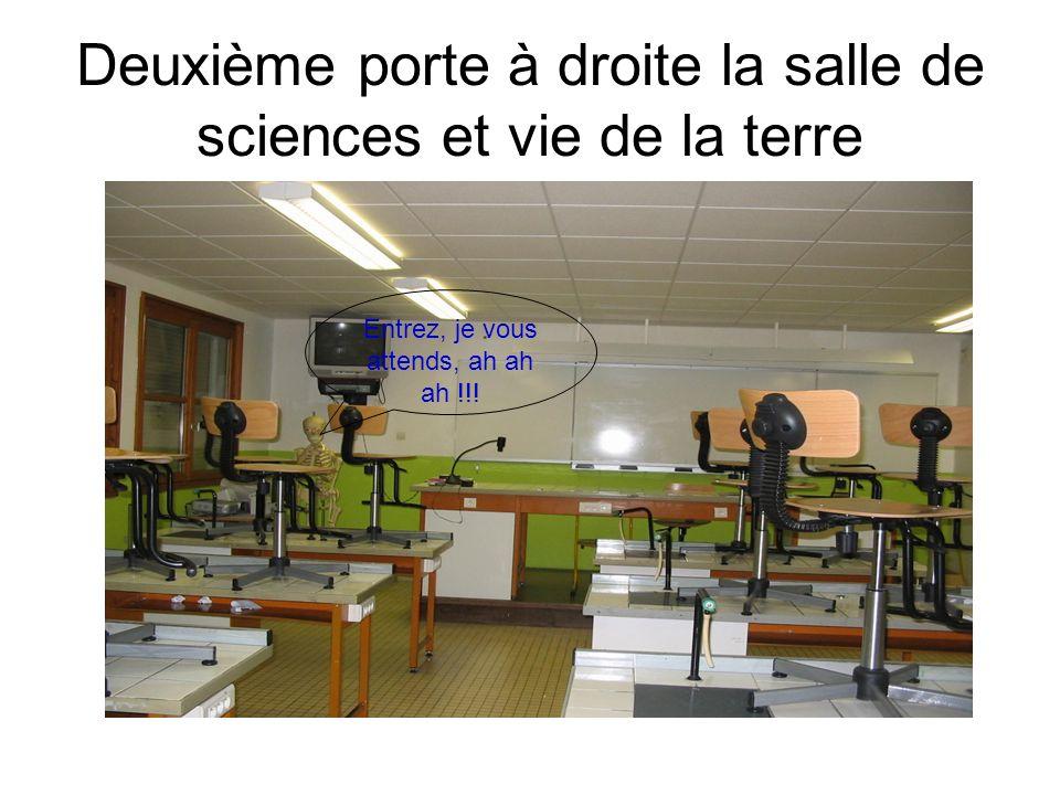 Deuxième porte à droite la salle de sciences et vie de la terre Entrez, je vous attends, ah ah ah !!!