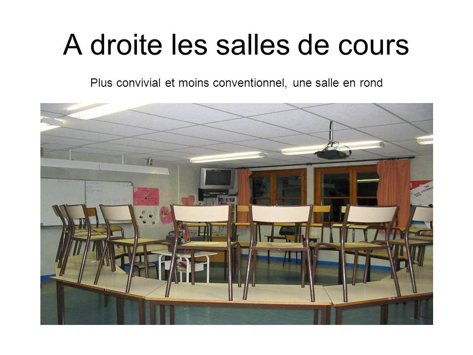 A droite les salles de cours Plus convivial et moins conventionnel, une salle en rond