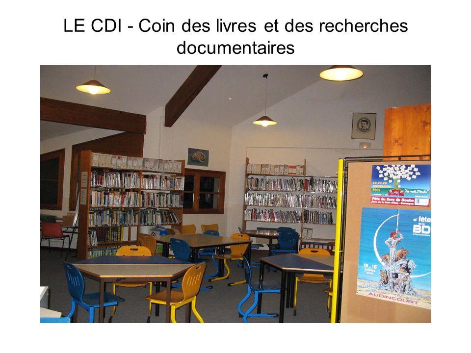 LE CDI - Coin des livres et des recherches documentaires