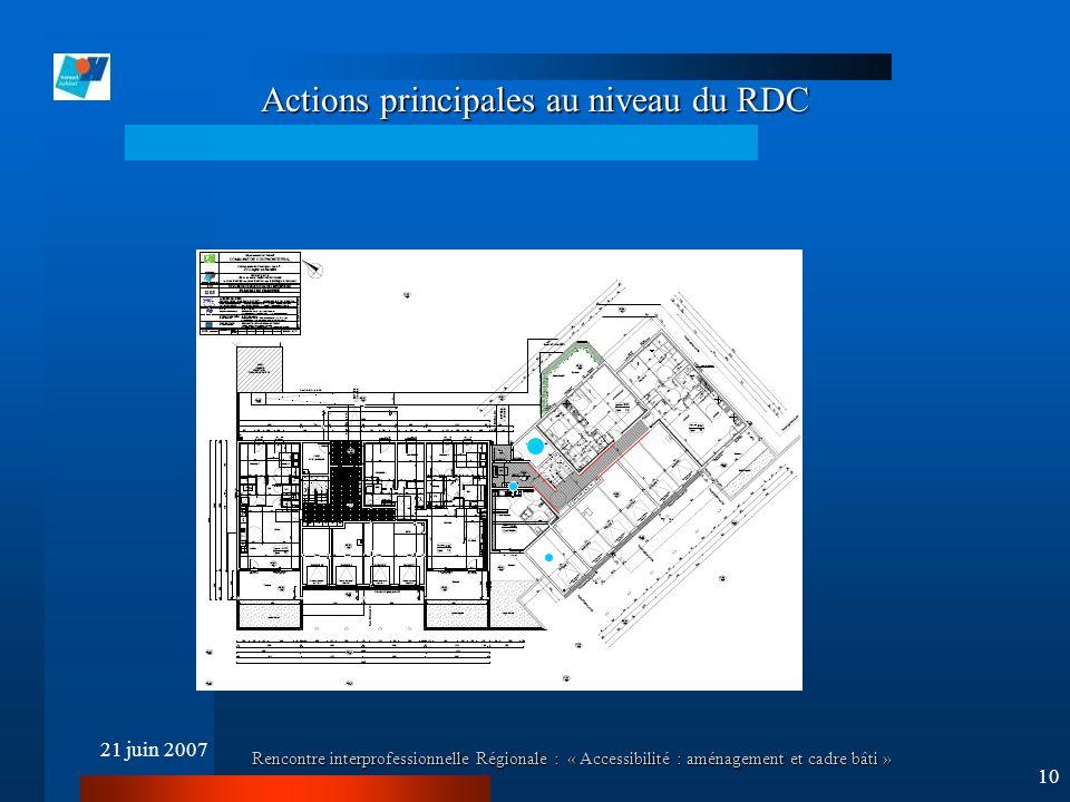 21 juin 2007 Rencontre interprofessionnelle Régionale : « Accessibilité : aménagement et cadre bâti » 10 Actions principales au niveau du RDC