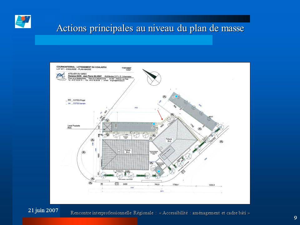 21 juin 2007 Rencontre interprofessionnelle Régionale : « Accessibilité : aménagement et cadre bâti » 9 Actions principales au niveau du plan de masse