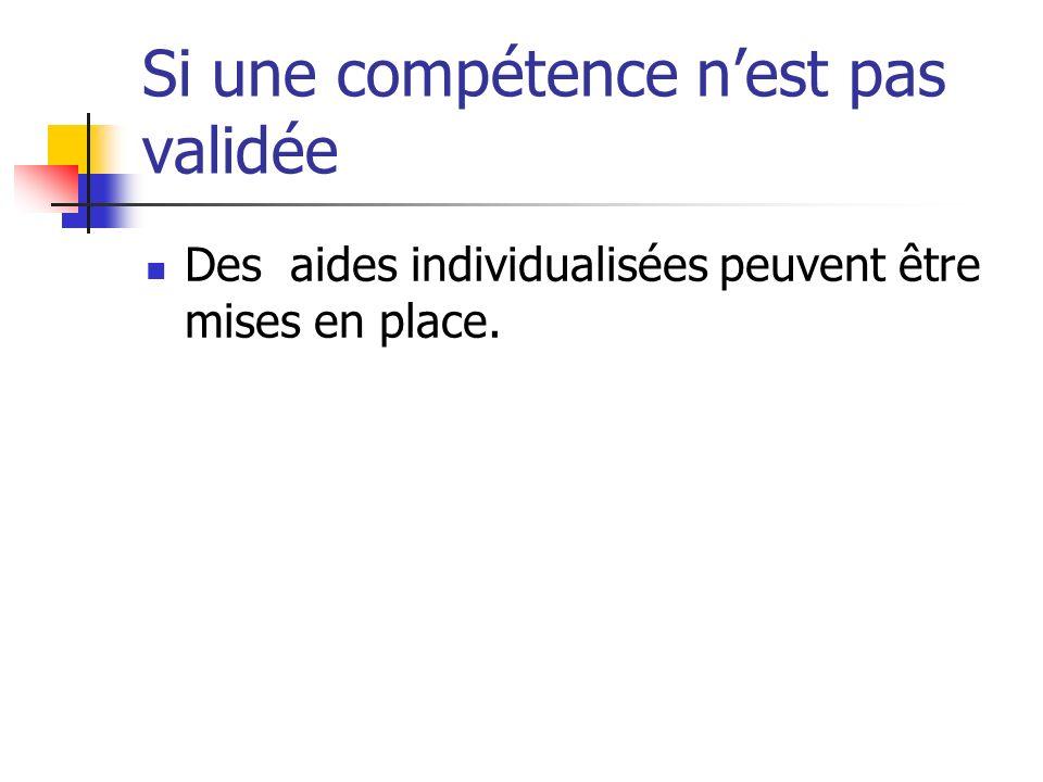 Si une compétence nest pas validée Des aides individualisées peuvent être mises en place.