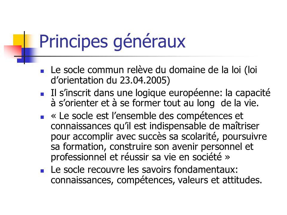 Principes généraux Le socle commun relève du domaine de la loi (loi dorientation du 23.04.2005) Il sinscrit dans une logique européenne: la capacité à