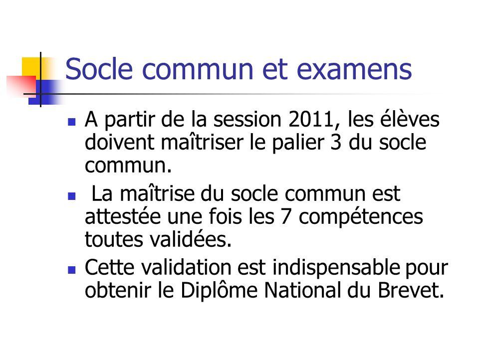 Socle commun et examens A partir de la session 2011, les élèves doivent maîtriser le palier 3 du socle commun. La maîtrise du socle commun est attesté