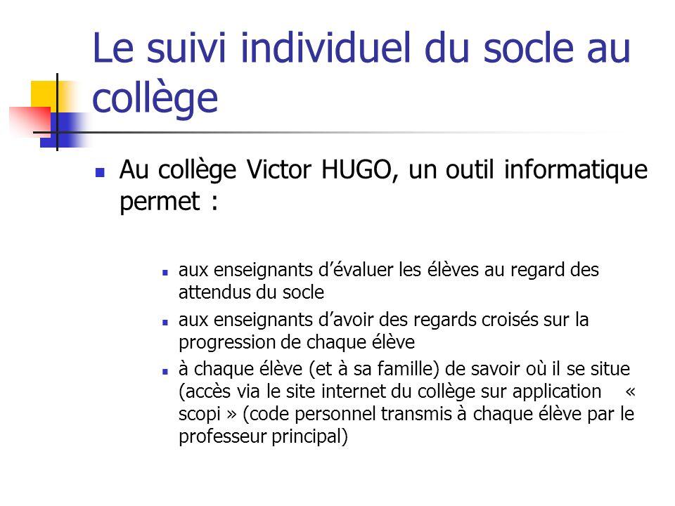 Le suivi individuel du socle au collège Au collège Victor HUGO, un outil informatique permet : aux enseignants dévaluer les élèves au regard des atten