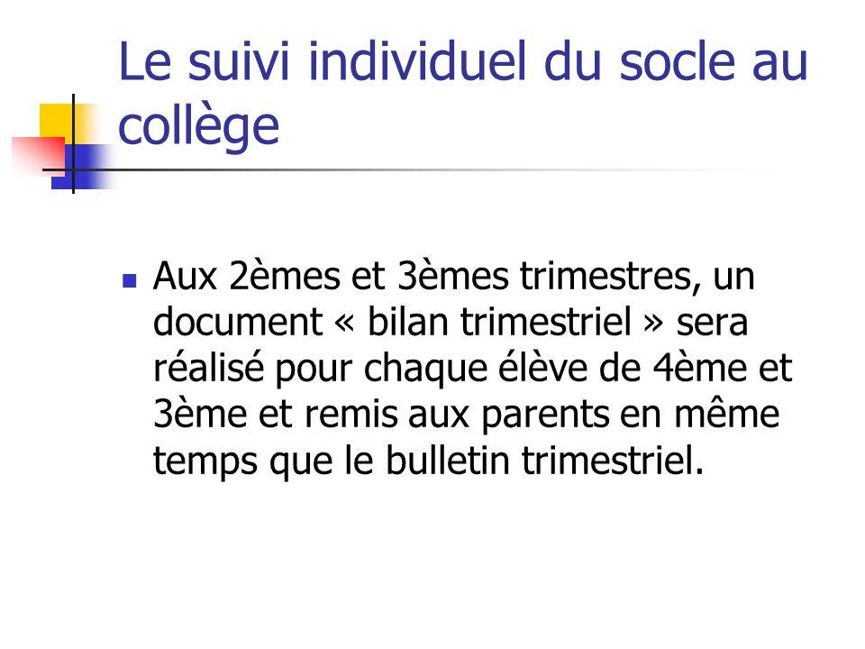 Le suivi individuel du socle au collège Aux 2èmes et 3èmes trimestres, un document « bilan trimestriel » sera réalisé pour chaque élève de 4ème et 3èm