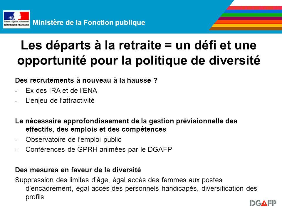 Ministère de la Fonction publique Les départs à la retraite = un défi et une opportunité pour la politique de diversité Des recrutements à nouveau à la hausse .