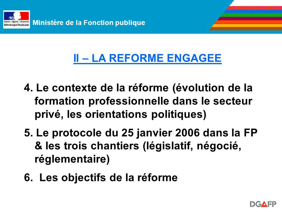 Ministère de la Fonction publique II – LA REFORME ENGAGEE 4.