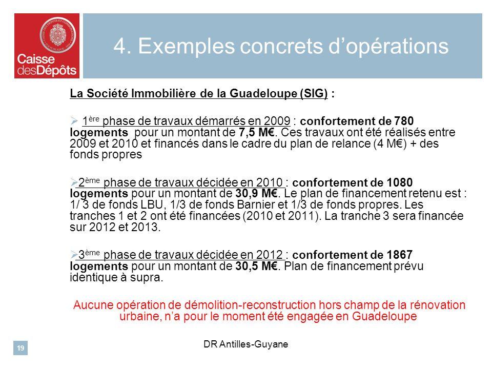 4. Exemples concrets dopérations La Société Immobilière de la Guadeloupe (SIG) : 1 ère phase de travaux démarrés en 2009 : confortement de 780 logemen