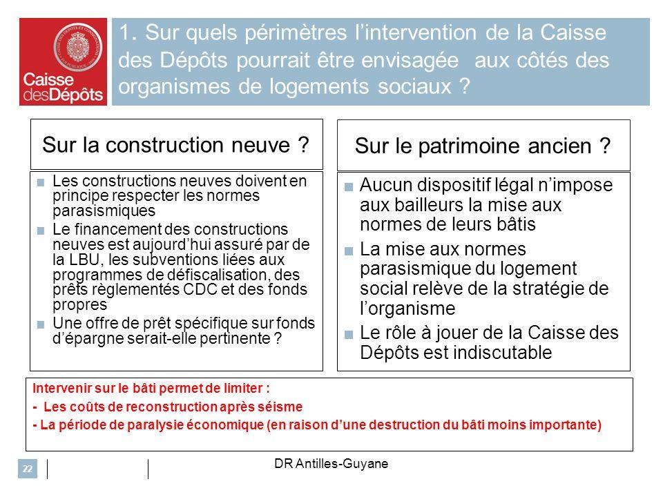 1. Sur quels périmètres lintervention de la Caisse des Dépôts pourrait être envisagée aux côtés des organismes de logements sociaux ? Sur la construct