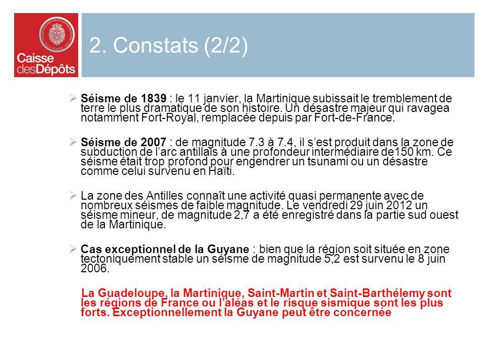 2. Constats (2/2) Séisme de 1839 : le 11 janvier, la Martinique subissait le tremblement de terre le plus dramatique de son histoire. Un désastre maje