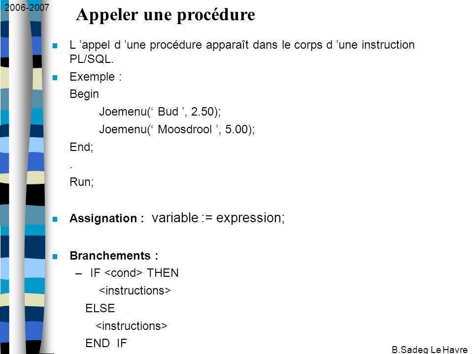 2006-2007 B.Sadeg Le Havre L appel d une procédure apparaît dans le corps d une instruction PL/SQL.