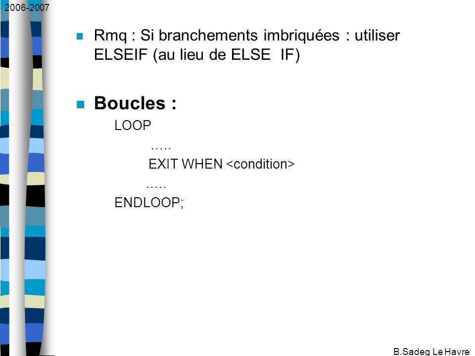 2006-2007 B.Sadeg Le Havre Rmq : Si branchements imbriquées : utiliser ELSEIF (au lieu de ELSE IF) Boucles : LOOP …..