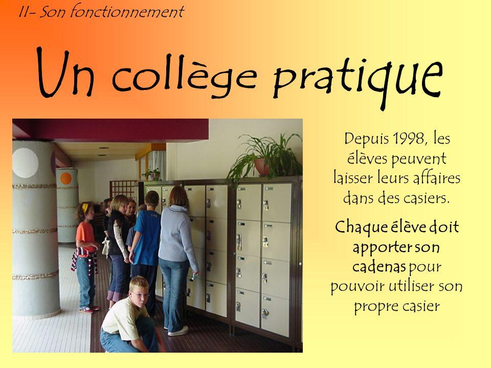 II- Son fonctionnement Depuis 1998, les élèves peuvent laisser leurs affaires dans des casiers. Chaque élève doit apporter son cadenas pour pouvoir ut