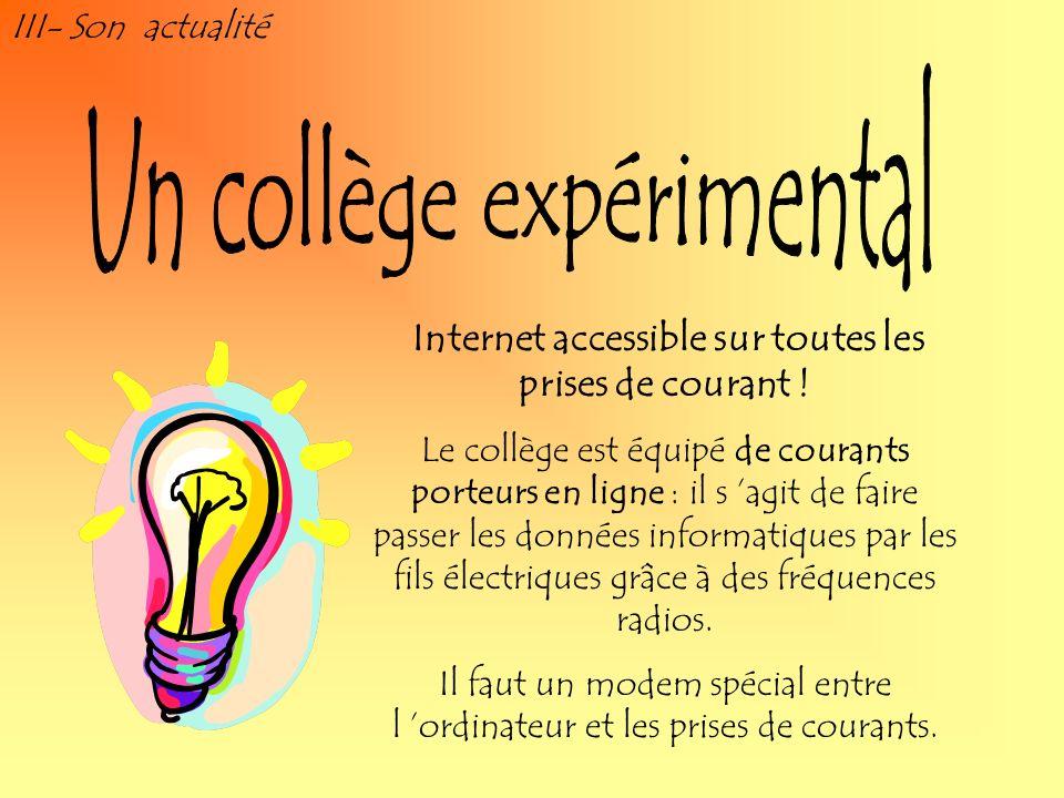 III- Son actualité Internet accessible sur toutes les prises de courant ! Le collège est équipé de courants porteurs en ligne : il s agit de faire pas