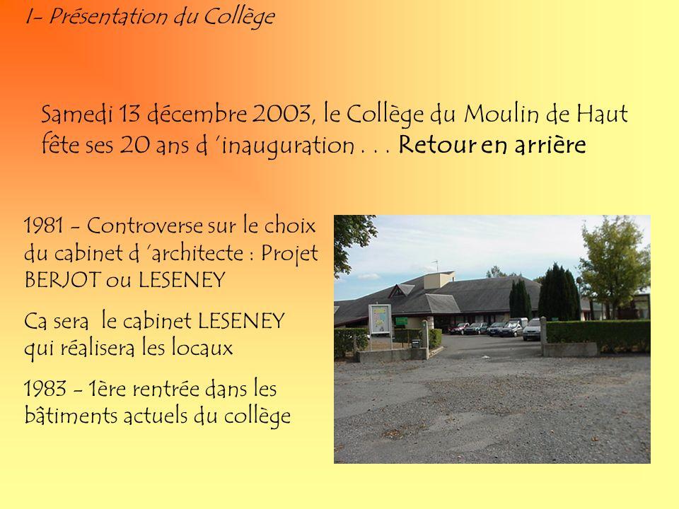 I- Présentation du Collège 1981 - Controverse sur le choix du cabinet d architecte : Projet BERJOT ou LESENEY Ca sera le cabinet LESENEY qui réalisera