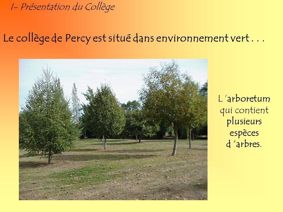 I- Présentation du Collège Le collège de Percy est situé dans environnement vert... L arboretum qui contient plusieurs espèces d arbres.