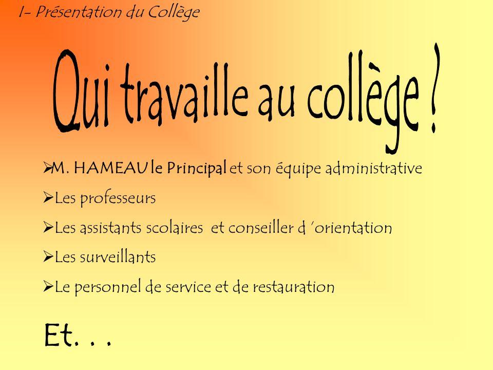 I- Présentation du Collège M. HAMEAU le Principal et son équipe administrative Les professeurs Les assistants scolaires et conseiller d orientation Le