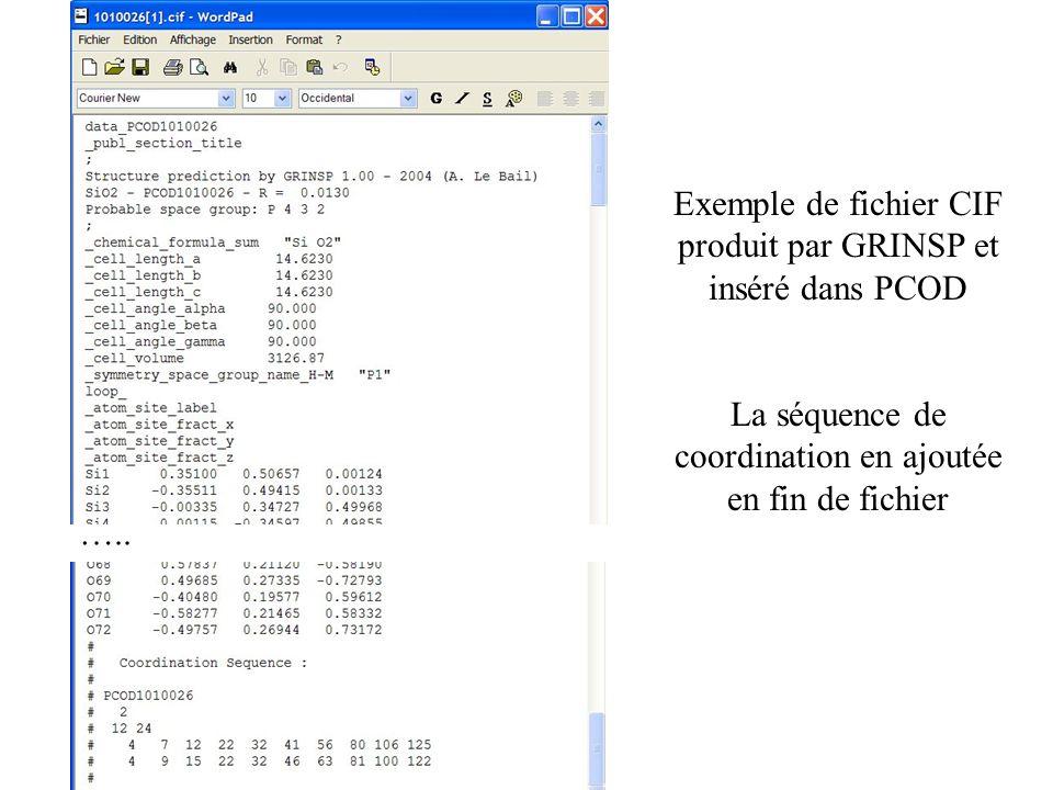 ….. Exemple de fichier CIF produit par GRINSP et inséré dans PCOD La séquence de coordination en ajoutée en fin de fichier