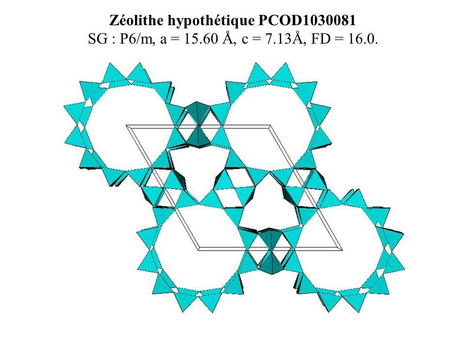Zéolithe hypothétique PCOD1030081 SG : P6/m, a = 15.60 Å, c = 7.13Å, FD = 16.0.