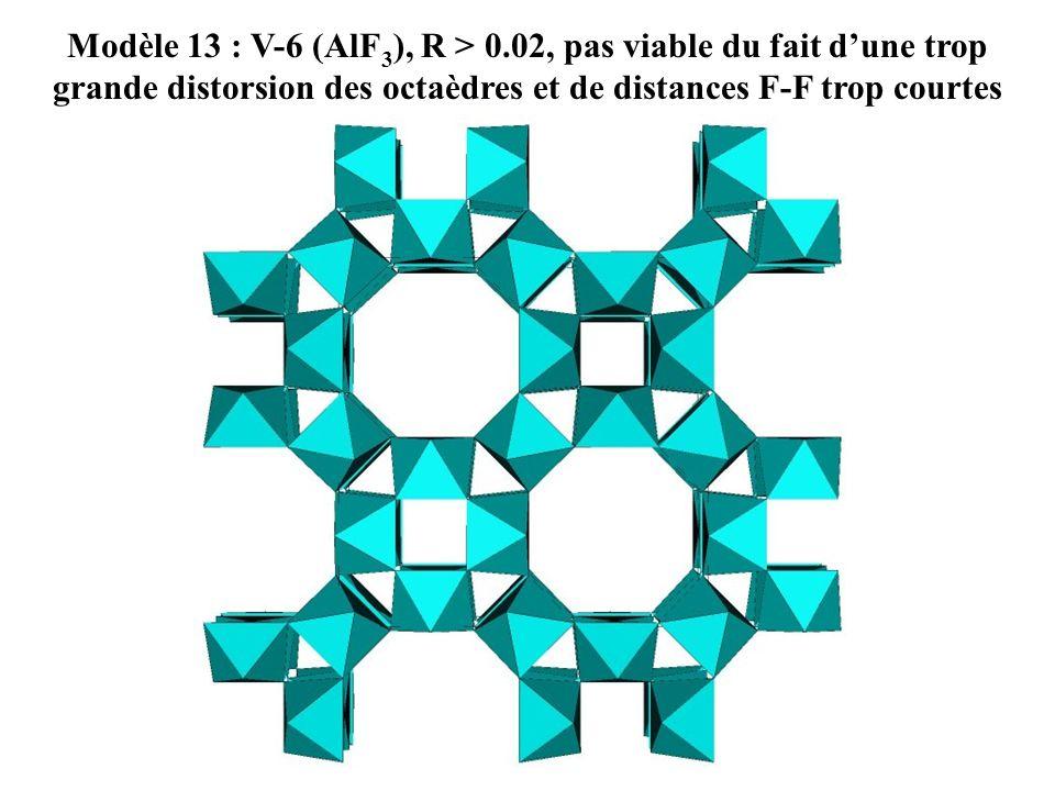 Modèle 13 : V-6 (AlF 3 ), R > 0.02, pas viable du fait dune trop grande distorsion des octaèdres et de distances F-F trop courtes
